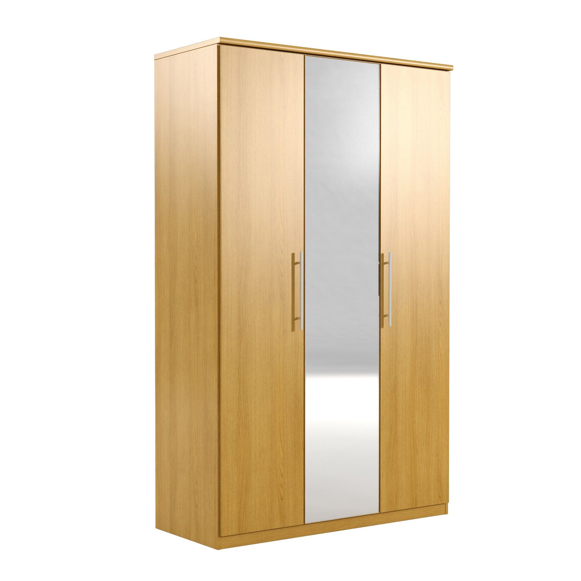 Urbane Designs Prague 3 Door Wardrobe - Oak at Tesco Direct