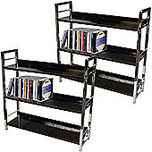 Brooklyn - 3 Tier Shelf Unit / Bookcase - Pack Of Two - Black