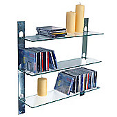 Isaac - 3 Tier Glass Wall Cd / Dvd / Blu-ray / Book Storage Shelves