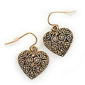 Marcasite Burn Gold 'Heart' Drop Earrings - 3cm Length