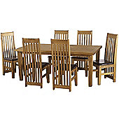 Tortilla 6' Dining Set Distressed Waxed Pine/Expresso Brown PU