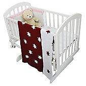Cuddles Collection Knitted Baby Wrap Blanket (Burgundy Stars)