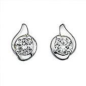 Womens Silver Twist CZ Stud Earrings