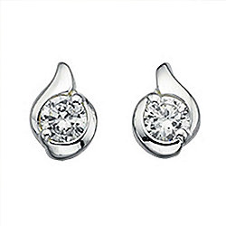 Womens Silver Twist CZ Stud Earrings