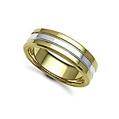 Bespoke Hand-Made 18 carat Yellow & White Gold 7mm Flat Court Wedding / Commitment Ring,