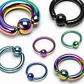 Urban Male Pack Of Five 1.6mm Titanium Anodised Body Piercing Ball Closure Rings BCR 10mm