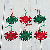 Red & Green Snowflake Christmas Decorations - Set Of Six