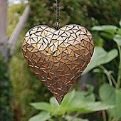 Hanging Gold Mosaic Heart Ornament for the Garden or Home