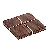 T&G Woodware Ltd Tuscany Square Table Mat with Leather Tie (Set of 4)
