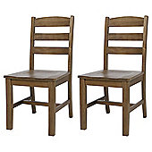 Portobello Rustic Pine Set of 2 Dining Chairs, Ladder Back