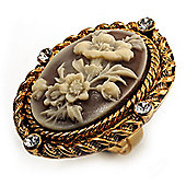 Vintage Floral Crystal Cameo Ring (Burnished Gold)
