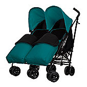 Obaby Apollo Black & Grey Twin Stroller with 2 Turquoise Footmuffs - Turquoise