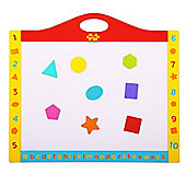 Bigjigs Toys BJ380 Magnetic Dry Wipe Whiteboard and Blackboard with Shapes