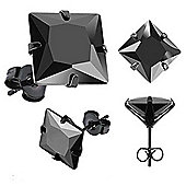 Urban Male Black Stainless Steel & Square CZ Men's Earrings 3mm