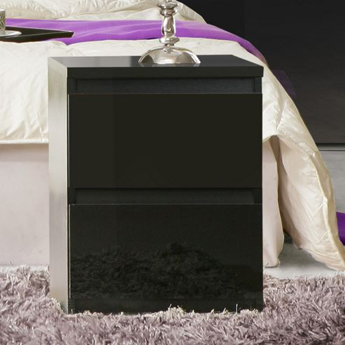 Ideal Furniture Chelsea 2 Drawer Bedside Table - Black Gloss