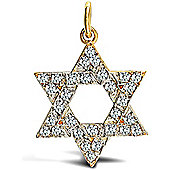 Jewelco London 9ct Solid Gold heavy weight Star of David Pendant hand-set with CZ stones