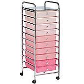 VonHaus 10 Drawer Pink Ombre Mobile Storage Trolley