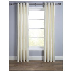 Tesco Faux Silk Lined Eyelet Curtain 44X54 Ivory
