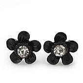 Children's Pretty Black Enamel 'Daisy' Stud Earrings - 12mm Diameter