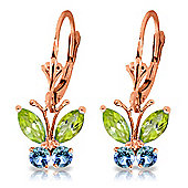 QP Jewellers Blue Topaz & Peridot Butterfly Earrings in 14K Rose Gold