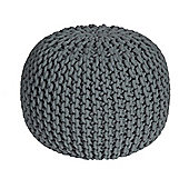 Homescapes Sea Grey Knitted Cotton Pouffe Footstool Round 35 x 40 cm
