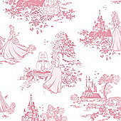 Graham & Brown Princess Toile Print Pink/White Wallpaper