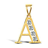 Jewelco London 9ct Gold CZ Initial ID Personal Pendant, Letter A - 1.7g