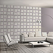 Muriva 3D Squares Wallpaper - Grey