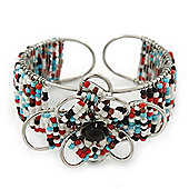 Fancy Glass Bead Floral Cuff Bracelet In Silver Tone - Adjustable - Multicoloured