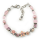 Vintage Inspired Pink Enamel, Crystal Flower, Freshwater Pearl, Glass Bead Bracelet In Silver Tone - 16cm Length/ 4cm Extension