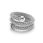 Jewelco London White Sterling Silver Double Wrap Popcorn Fashion Ring Size