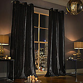 Kylie Minogue - Iliana Ready Made Eyelet Velvet Curtains - Fully Lined - Black