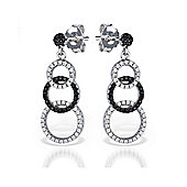 The REAL Effect Rhodium Coated Sterling Silver Black & White Cubic Zirconia Interlocking Rings Drop Earrings