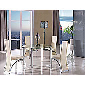 Torino Round Glass Extending 74 - 120 cm Dining Table with 4 Ivory Alisa Chairs