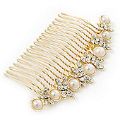 Bridal/ Wedding/ Prom/ Party Gold Plated Clear Crystal, Simulated Pearl Butterfly Hair Comb - 95mm