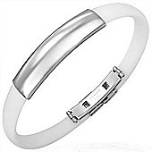 Urban Male Stainless Steel & White Rubber ID Bangle