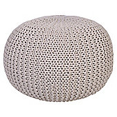 Light Weight Knitted Pouffe Ivory