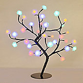45cm Rose Tree table Lamp in Black with 32 Multi Coloured LEDs
