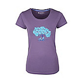 Summer Tree Womens Printed Breathable Lightweight Short Sleeved Cotton T-Shirt - Chinese violet