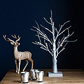 45cm Battery Indoor Pre-Lit LED Silver Glitter Twig Tree