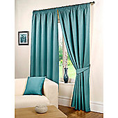 Hamilton McBride Waffle Lined Pencil Pleat Curtains - Blue