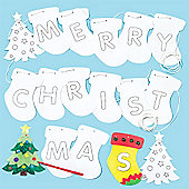 Merry Christmas Bunting for Children to Decorate Embellish and Hang (Per Pack)