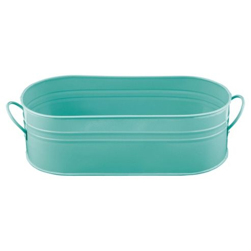 Tesco Metal Plant Trough with Carrying Handles - Aqua