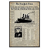 The New York Times Gloss Black Framed Titanic Tragedy Poster