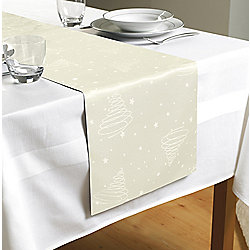 Country Club Christmas Jacquard Table Runner 180 x 35cm, Cream