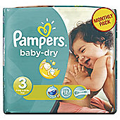Pampers Baby Dry Size 3 Monthly Pack - 198 Nappies