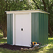 Rowlinson Metal Pent Shed in Green and White - 172 cm H x 254 cm W x 119 cm D