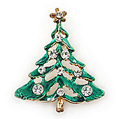 Vintage Inspired Holly Jolly Clear Crystal Christmas Tree Brooch In Gold Plating - 45mm Length