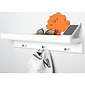 Oakley - Wall Mounted Organiser Shelf With 3 Key / Coat Hooks - White