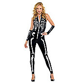 Skeleton Catsuit - Adult Costume Size: 14-16